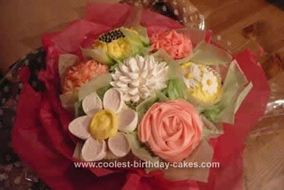 A Bouquet of Flower Cupcakes for Mothers Day