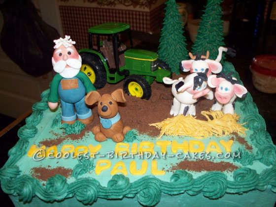 Cool Homemade Farmer Scene Birthday Cake