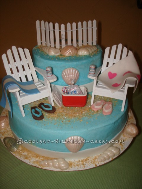 Coolest Couple's Beach-Themed Shower Cake
