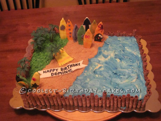 Surf's Up Cake For A Beach Lover!