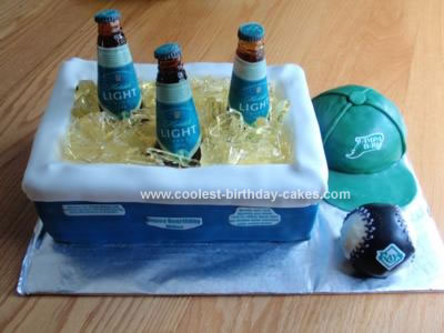 Coolest Beer Cooler and Baseball Theme Cake