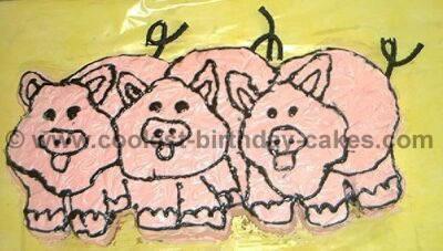 Pig-Shaped Birthday Cake Photo