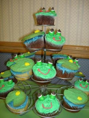 Sam's Frog & Lily Pad Cupcakes