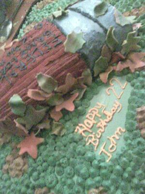 game load shell on a camo cake