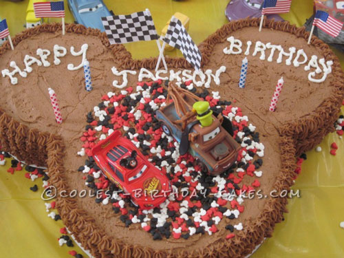 Awesome Cars Two Scene Made of Cakes for a 4th Birthday