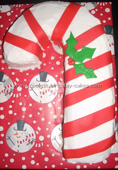 Candy Cane Christmas Cake Decoration