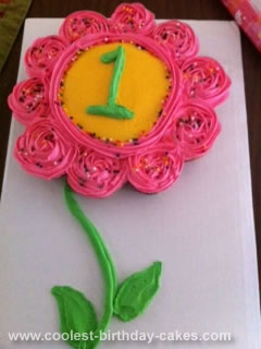 Homemade 1st Birthday Flower Cake