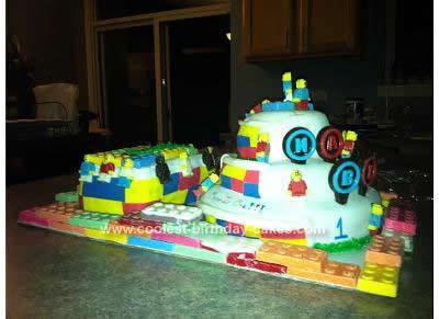 Homemade 1st Birthday LEGO Cake