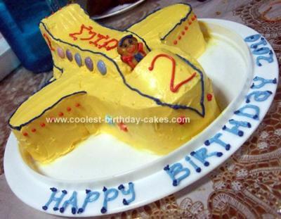 Homemade 2nd Birthday Plane Cake