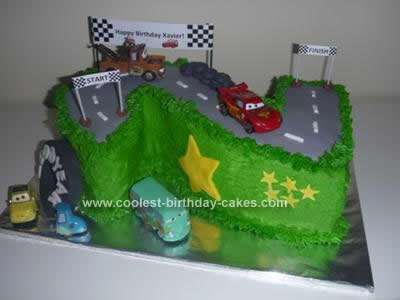 Homemade 2nd Birthday Race Track Cake
