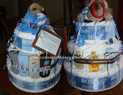 Homemade 3 Tier Diaper Cake for a Boy