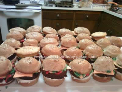 Homemade 30th Birthday Mini Hamburger Sliders Cakes