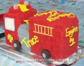 Homemade 3D Fire Truck Cake