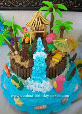 Homemade 3D Luau Birthday Cake