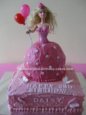 Homemade 3rd Birthday Barbie Cake