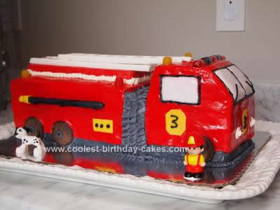 Homemade 3rd Birthday Fire Truck Cake