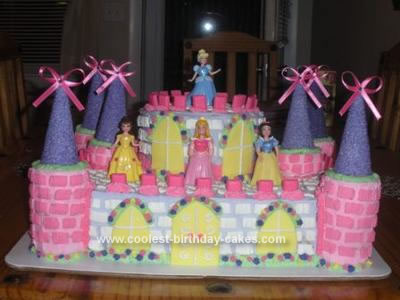 Homemade 3rd Birthday Princess Castle Cake