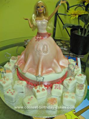Homemade 40th Birthday Barbie Cake