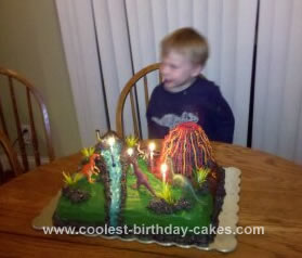 Homemade 4th Birthday Dinosaur and Volcano Cake