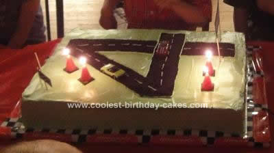 Homemade 4th Birthday Race Track Cake