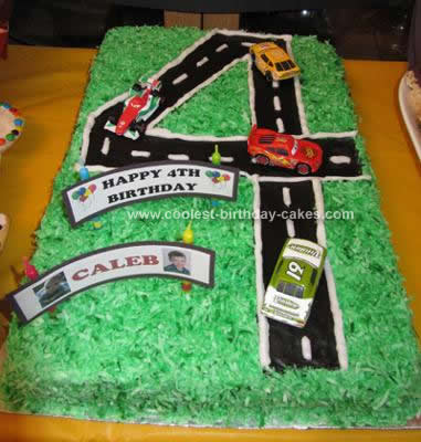 Homemade 4th Birthday Racetrack Cake