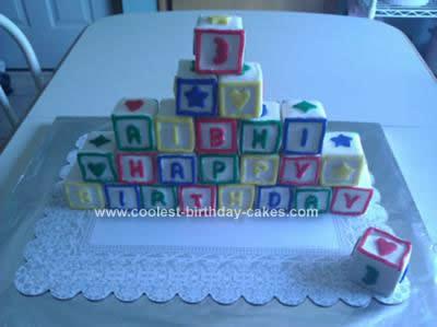 Homemade ABC Block Birthday Cake