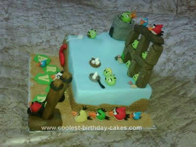 Homemade Angry Birds 6th Birthday Cake