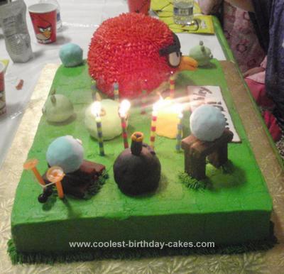 Homemade Angry Birds Birthday Cake