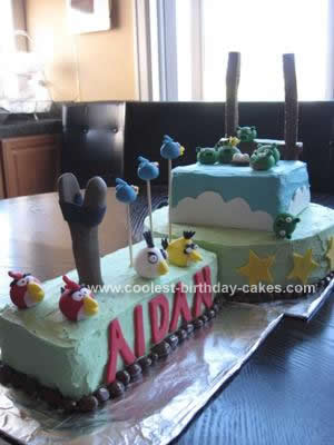 Homemade Angry Birds Birthday Cake