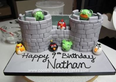 Homemade Angry Birds Castle Cake