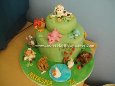 Homemade Animal Farm  Birthday Cake Idea