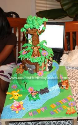 Homemade Animated Dora the Explorer Cake