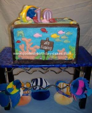 Coolest aquarium birthday cake for Fish tank cake designs