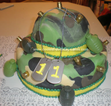 Homemade Army Camo Cake