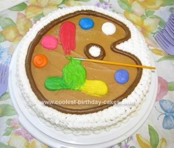 Homemade  Artist Palette Birthday Cake