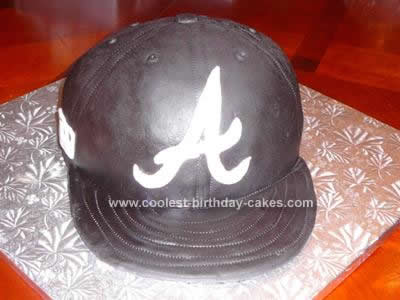 Homemade Atlanta Braves Baseball Hat Cake