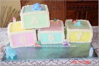 Homemade Baby Blocks Cake
