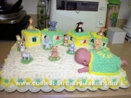 Homemade Baby Blocks Shower Cake