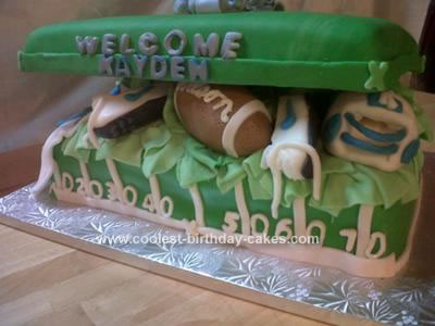 Homemade  Baby Boy Football Themed Cake