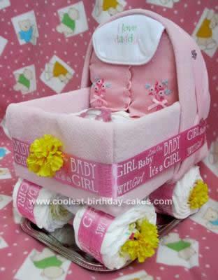 Homemade Baby Carriage Diaper Cake