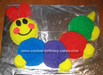 Homemade Baby Einstein Caterpillar Birthday Cake