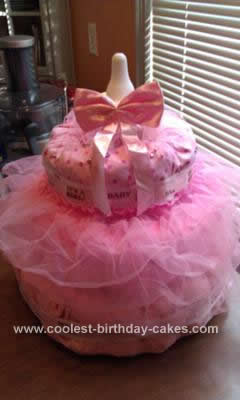 Homemade Baby Girl Diaper Cake