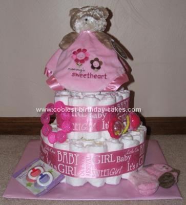 Homemade Baby Girl Diaper Cake