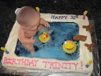 Homemade Baby in a Bath Cake