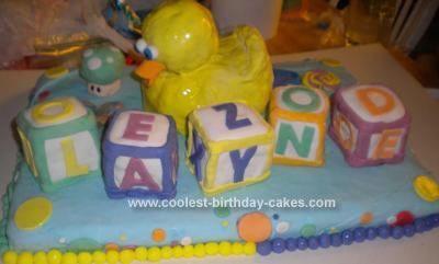 Homemade Baby Shower Block Cake
