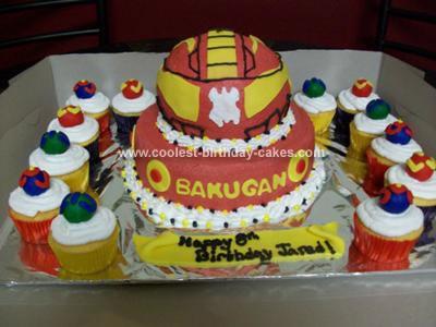 Homemade Bakugan Birthday Cake & Cupcakes