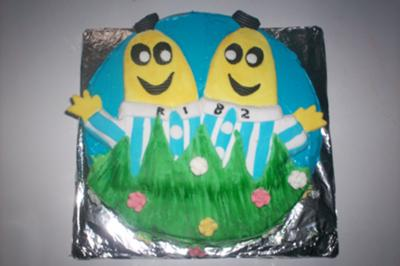 Homemade Bananas in Pyjamas Birthday Cake