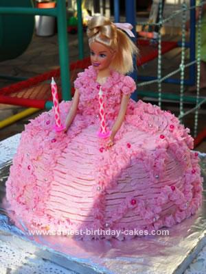Homemade Barbie Doll Birthday Cake