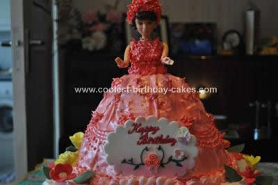 Homemade Barbie Doll Birthday Cake Design