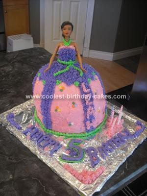 Homemade Barbie Doll Skirt Birthday Cake
